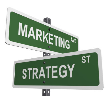 a sign post with marketing and strategy on street like signs